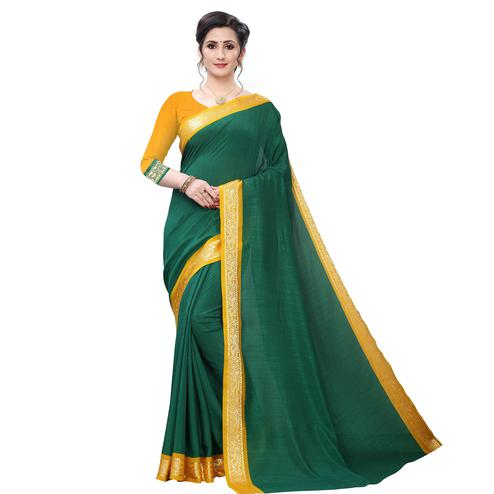 Appealing Green Colored Festive Wear Woven Vichitra Silk Saree