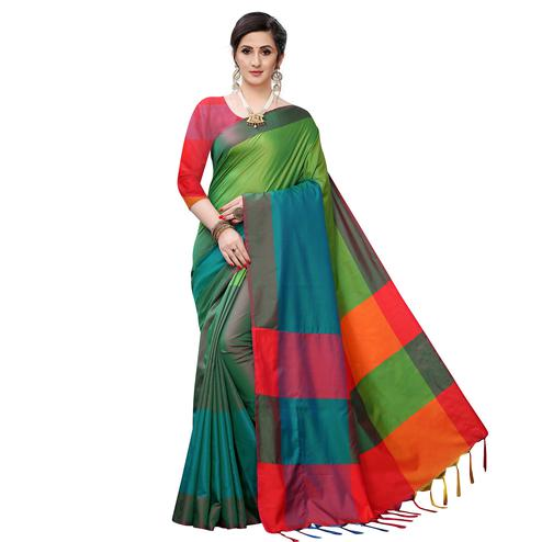 Blissful Green Colored Festive Wear Woven Sana Silk Saree