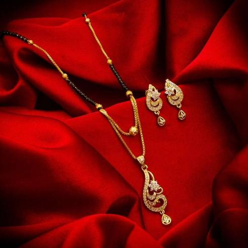 Blooming Gold Plated American Diamond Alloy Mangalsutra Set