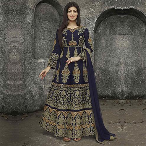 Blue Party Wear Mulberry Silk Anarkali Suit