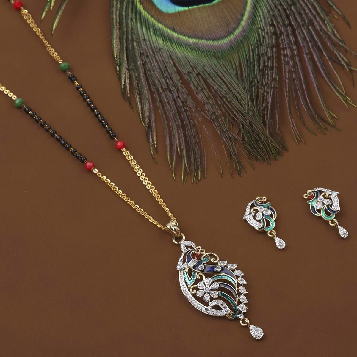 Lovely Gold Plated American Diamond Alloy Mangalsutra Set
