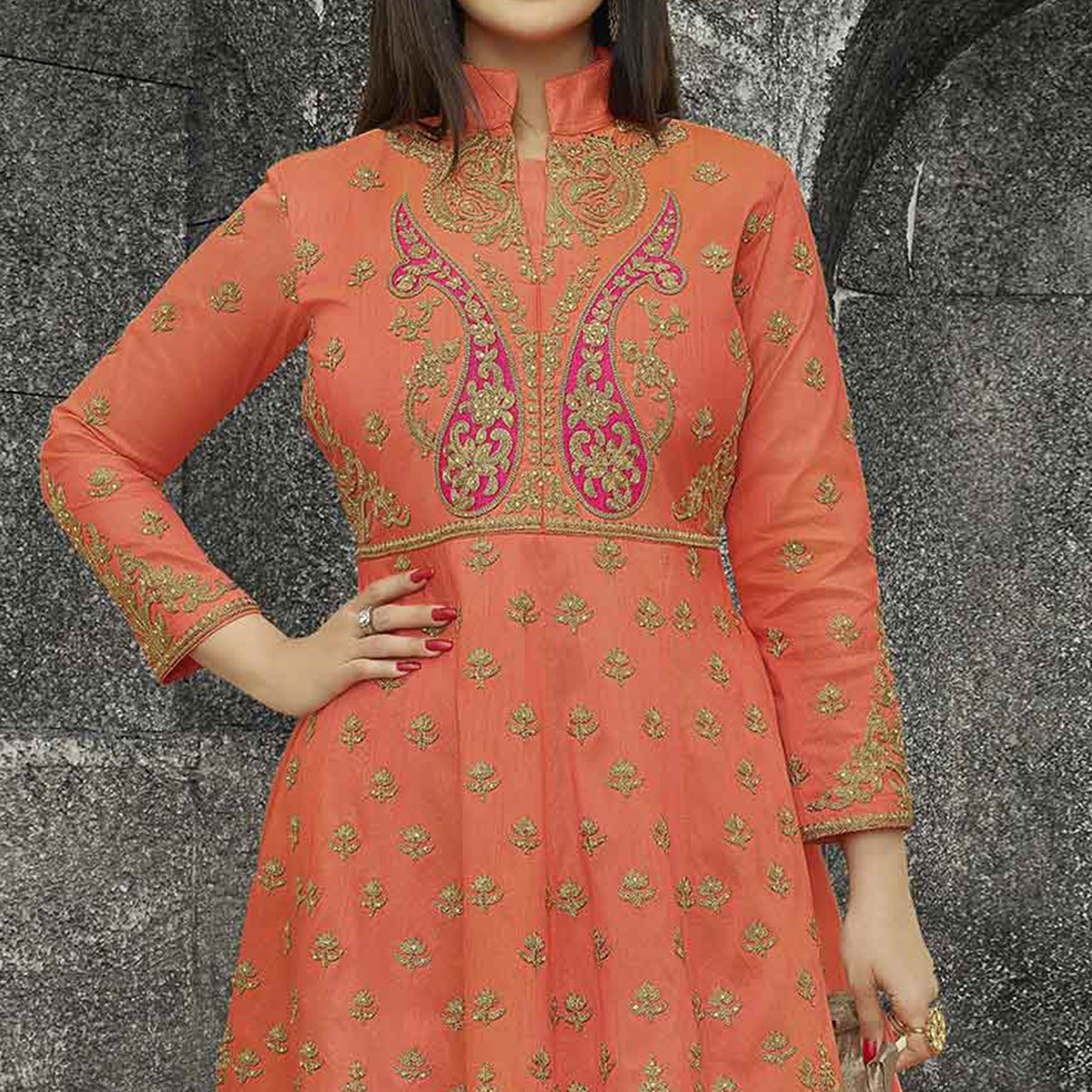 Orange Party Wear Mulberry Silk Anarkali Suit