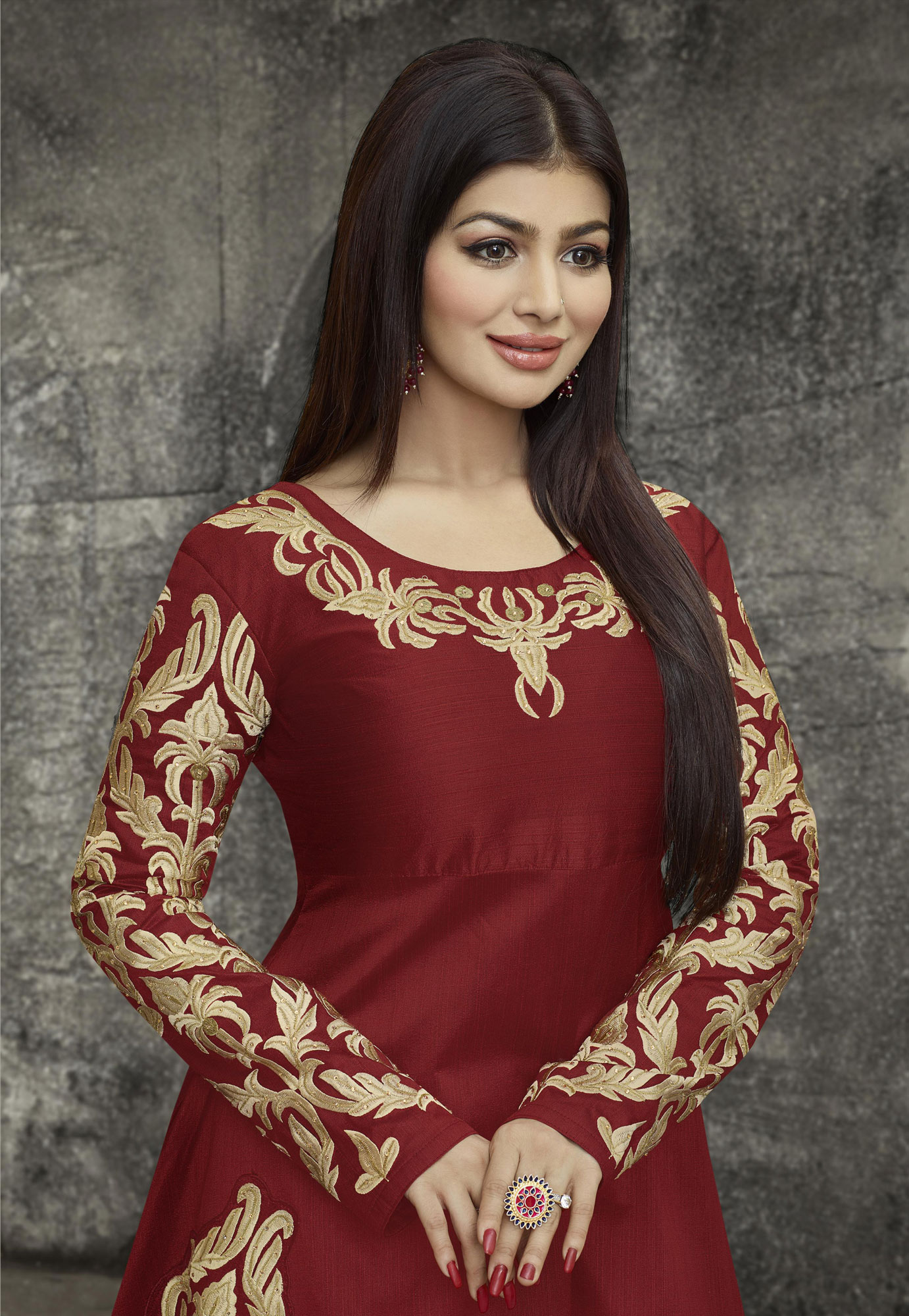 Maroon Party Wear Mulberry Silk Anarkali Suit