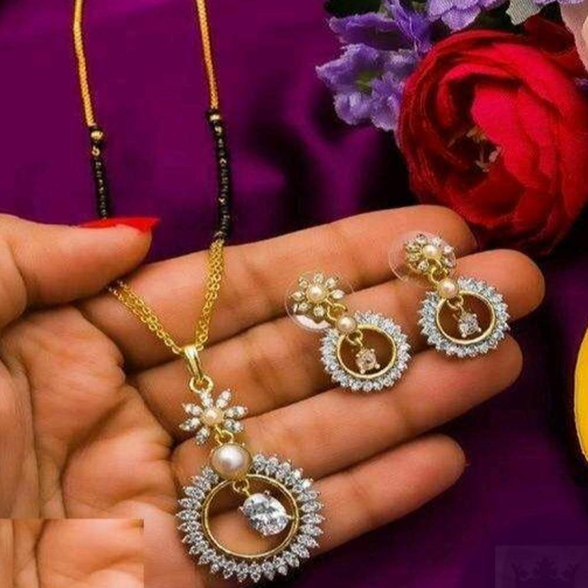 Gleaming Gold Plated American Diamond Alloy Mangalsutra Set