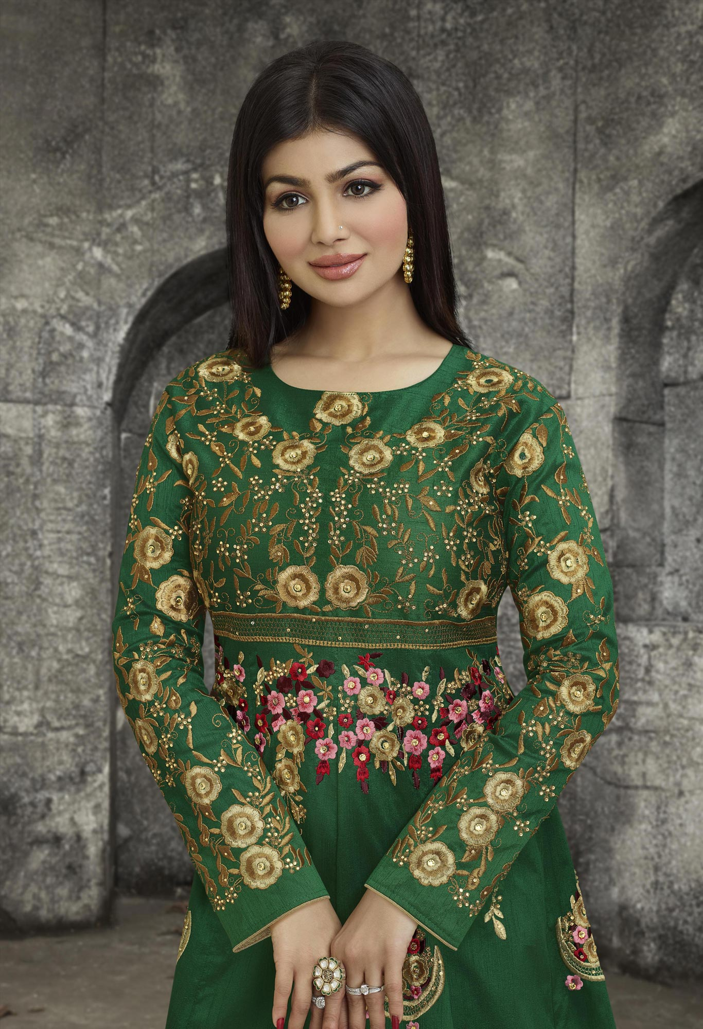 Green Party Wear Mulberry Silk Anarkali Suit