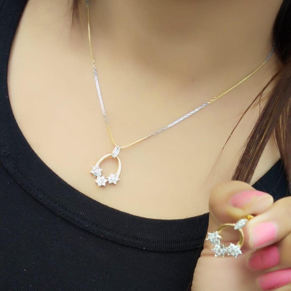 Excellent Gold Plated American Diamond Alloy Pendant Set