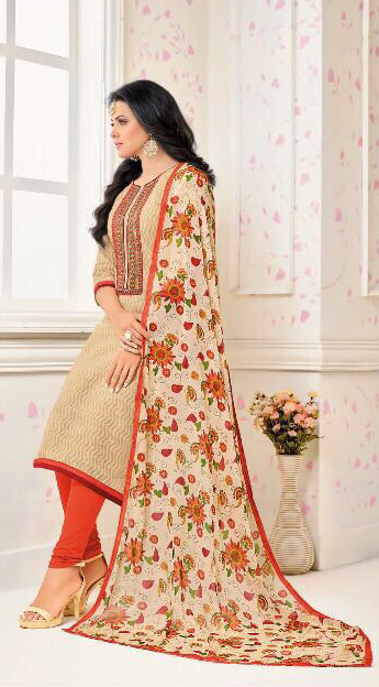 Beige - Orange Chanderi Suit With Printed Dupatta