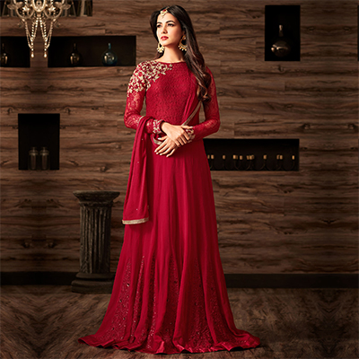 Hot Red Designer Embroidered Anarkali Suit