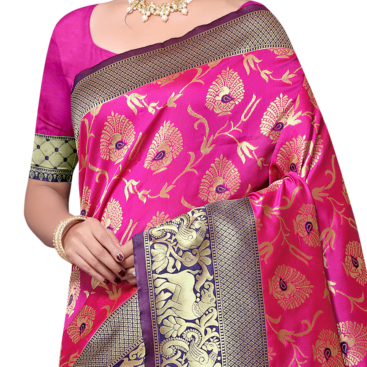 Adorning Hot Pink Colored Festive Wear woven Kota Lichi Banarasi Silk Saree
