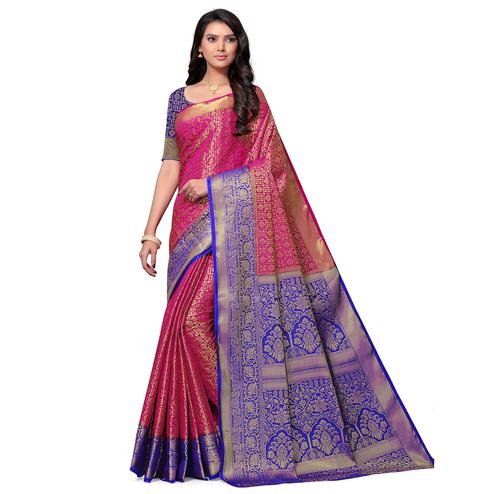 Intricate Pink Colored Festive Wear Woven Nylon Saree