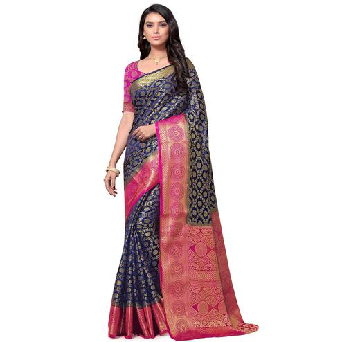 Arresting Navy Blue Colored Festive Wear Woven Nylon Saree