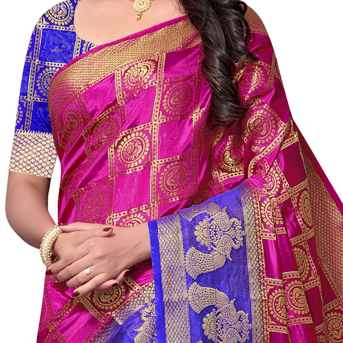 Desirable Pink Colored Festive Wear Woven Nylon Saree