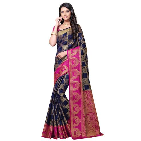 Exotic Navy Blue Colored Festive Wear Woven Nylon Saree