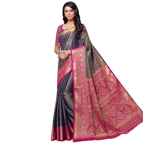 Elegant Navy Blue Colored Festive Wear Woven Nylon Saree