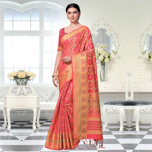 Mesmeric Pink Colored Festive Wear Woven Art Silk Saree With Tassels