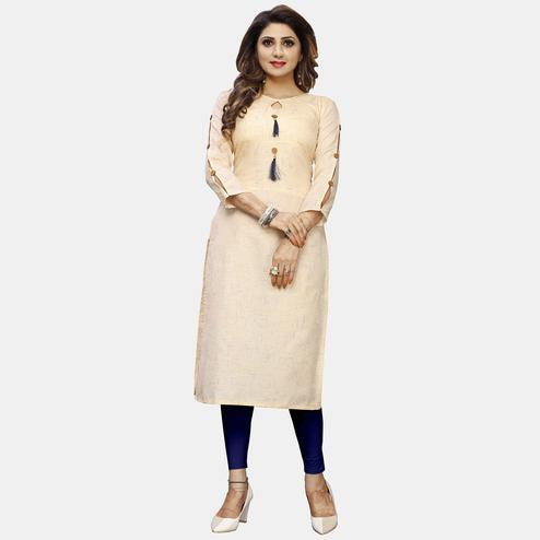 Refreshing Beige Colored Casual Wear Solid Calf-Length Straight Cotton Kurti