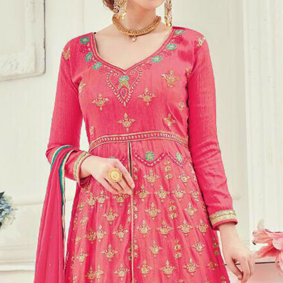 Stunning Pink Designer Embroidered Pure Silk Anarkali Suit