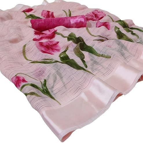 Intricate Pastel Pink Colored Casual Wear Floral Printed Linen Saree