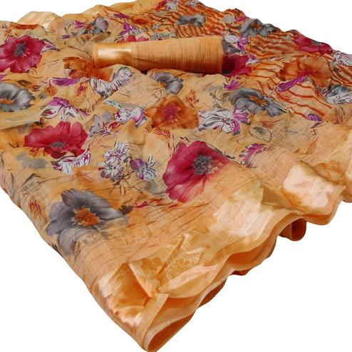 Trendy Orange Colored Casual Wear Floral Printed Linen Saree
