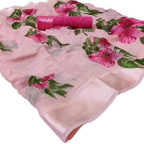 Pleasant Pink Colored Casual Wear Floral Printed Linen Saree