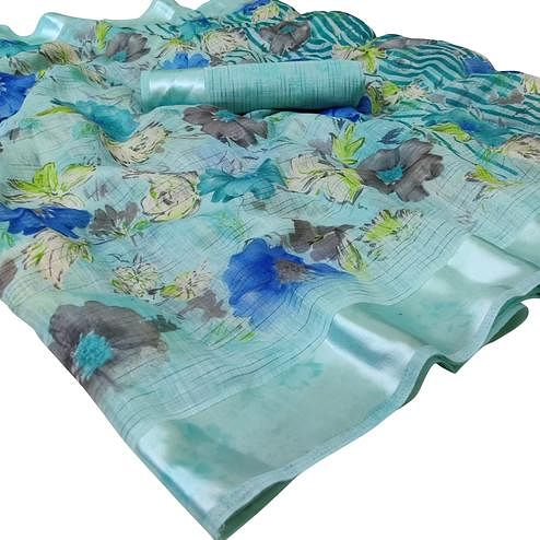 Opulent Sky Blue Colored Casual Wear Floral Printed Linen Saree