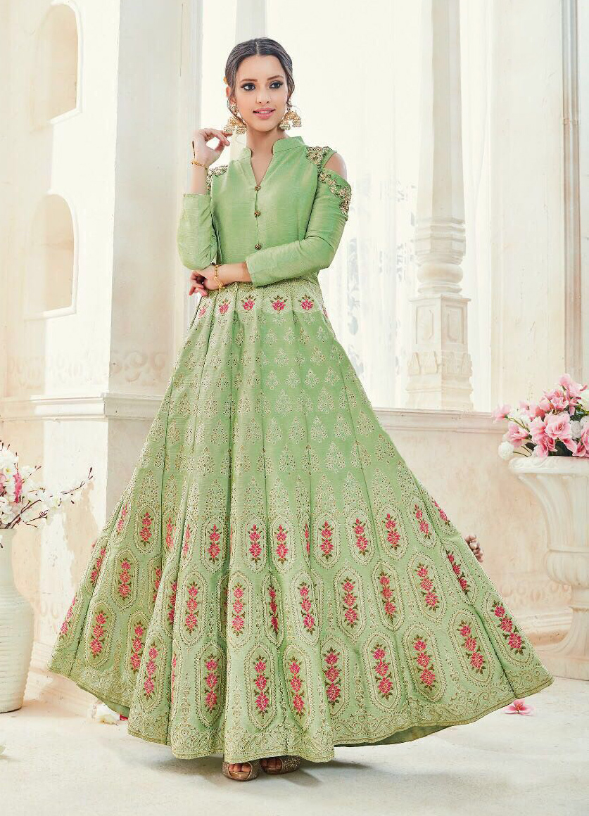 Gorgeous Green Designer Embroidered Pure Silk Anarkali Suit