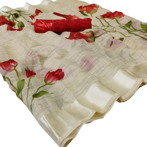 Energetic Beige Colored Casual Wear Floral Printed Linen Saree