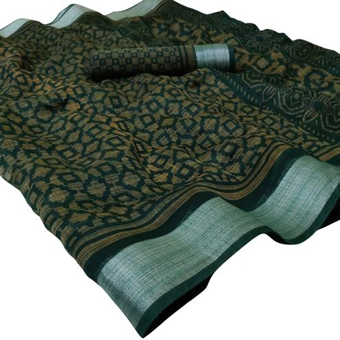 Adorable Dark Green Colored Casual Wear Floral Printed Linen Saree