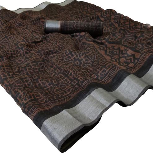 Glorious Coffee Brown Colored Casual Wear Floral Printed Linen Saree