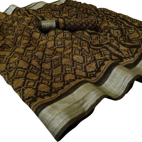 Attractive Mustard Yellow Brown Colored Casual Wear Floral Printed Linen Saree
