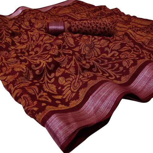 Graceful Maroon Colored Casual Wear Floral Printed Linen Saree
