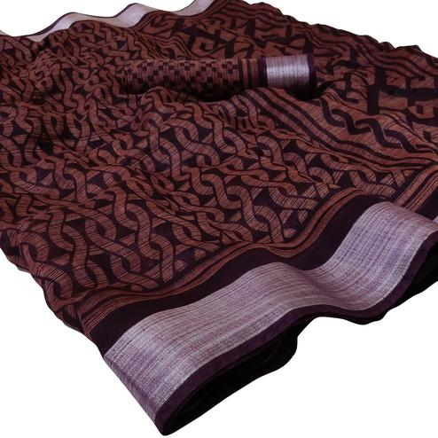 Blooming Dark Wine Colored Casual Wear Floral Printed Linen Saree