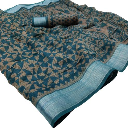 Charming Blue Colored Casual Wear Floral Printed Linen Saree