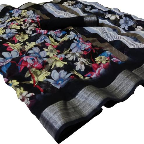 Delightful Black Colored Casual Wear Floral Printed Linen Saree