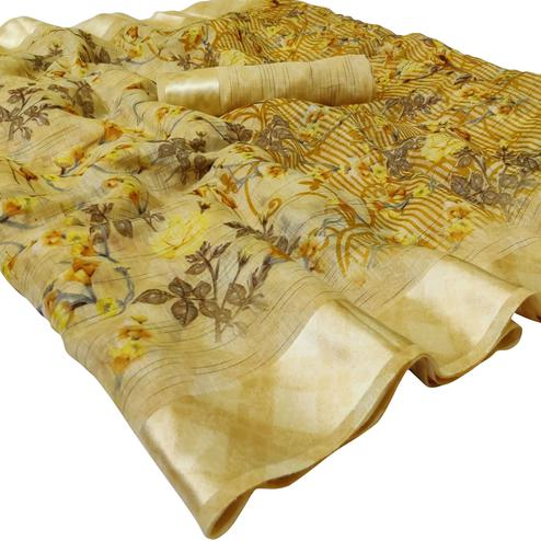 Engrossing Yellow Colored Casual Wear Floral Printed Linen Saree