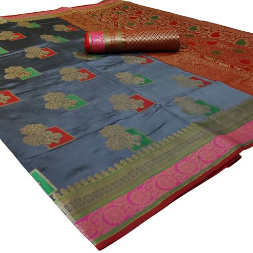 Exceptional Grey Colored Festive Wear Woven Silk Saree