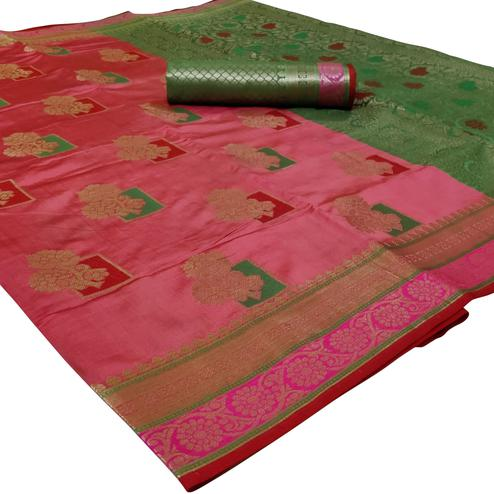 Demanding Pink Colored Festive Wear Woven Silk Saree