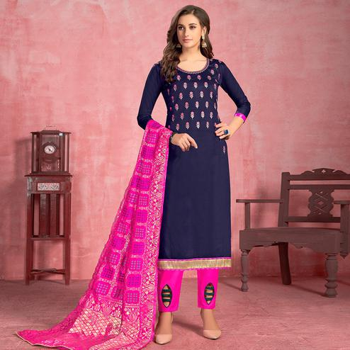 Innovative Navy Blue Colored Partywear Embroidered Pure Cotton Dress Material