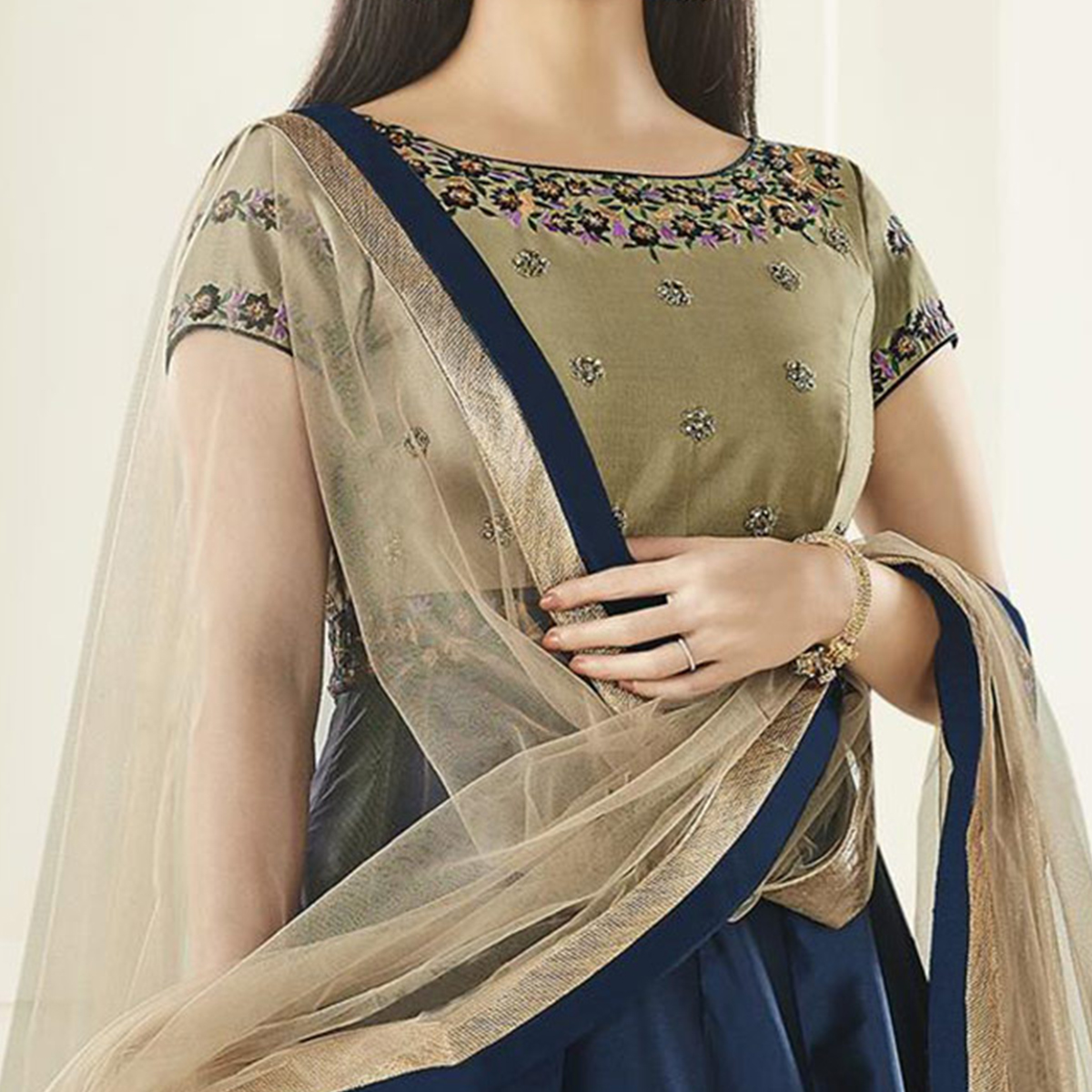 Gorgeous Navy-Beige Tapetta Silk Floor Length Designer Embroidered Anarkali Suit