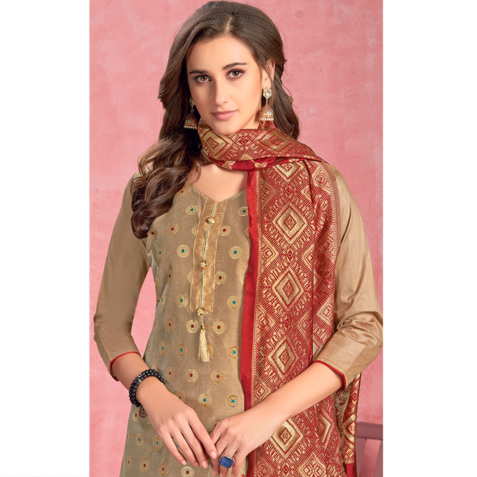 Eye-catching Beige Colored Partywear Embroidered Pure Cotton Dress Material