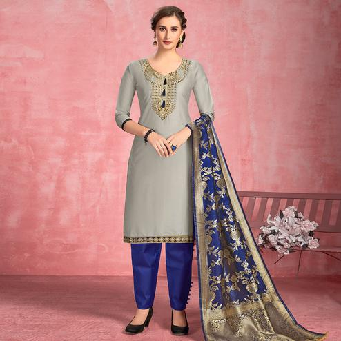 Amazing Grey Colored Partywear Embroidered Pure Cotton Dress Material