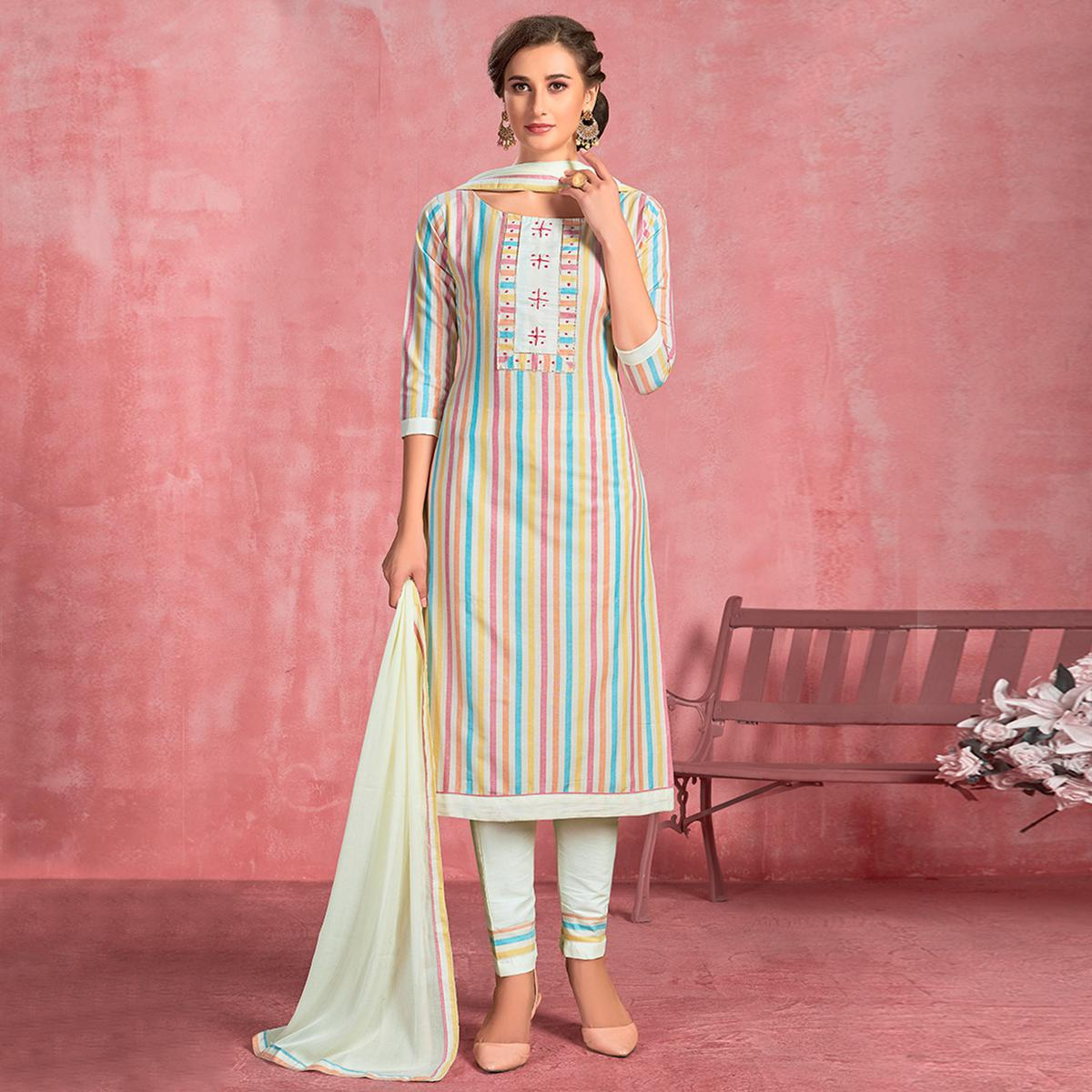 Gorgeous White-Mulit Colored Partywear Embroidered Pure Cotton Dress Material