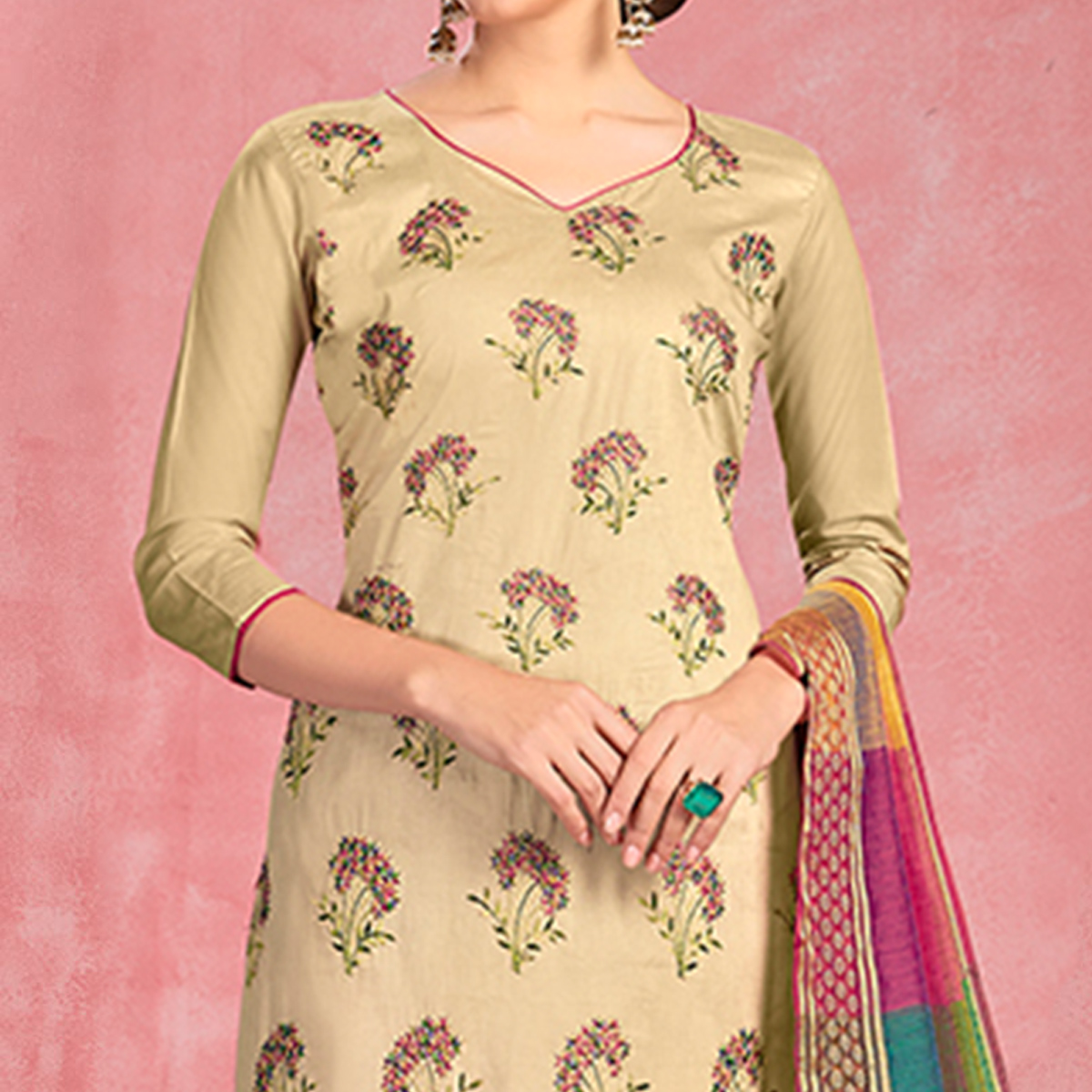 Blissful Cream Colored Partywear Embroidered Pure Cotton Dress Material