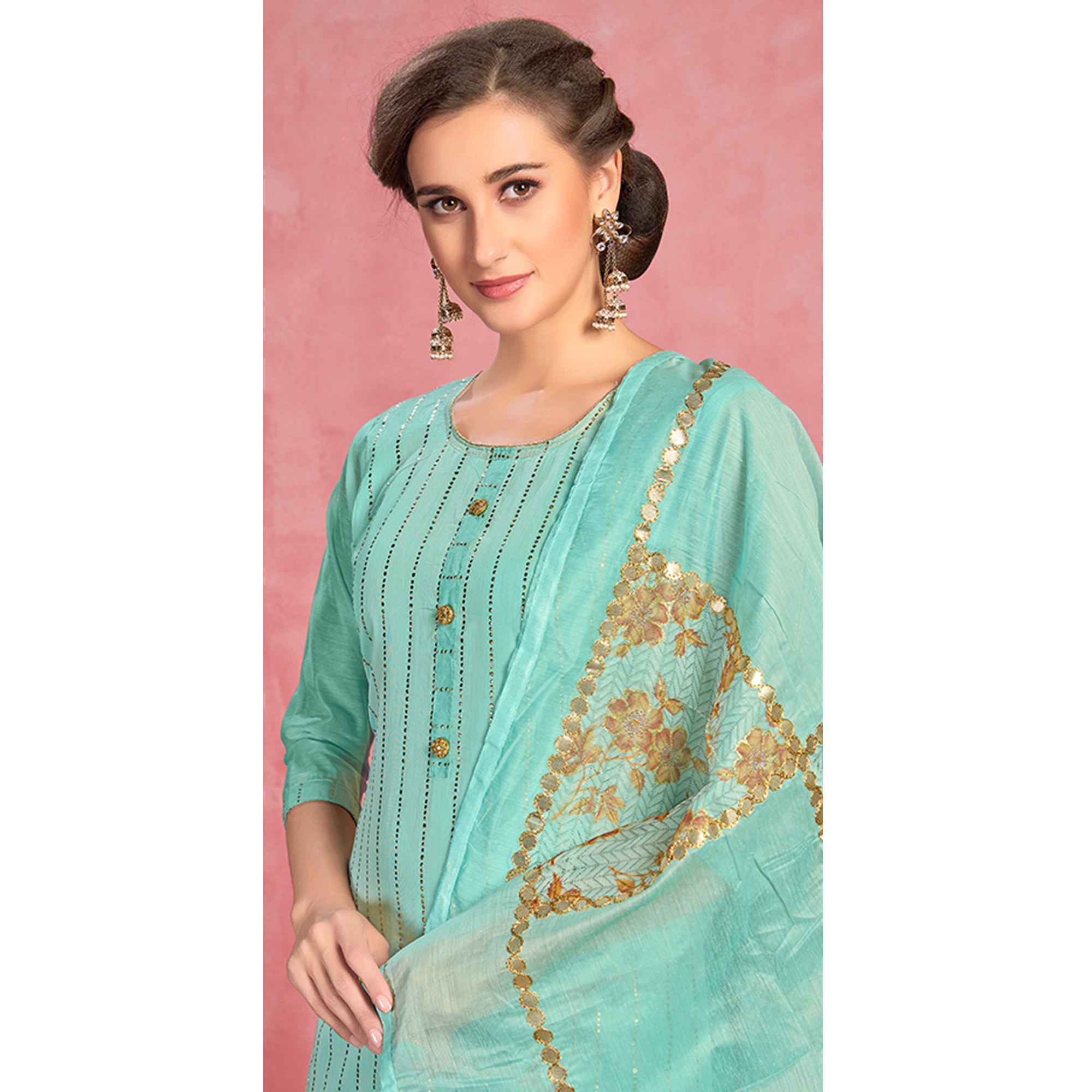 Ideal Turquoise Blue Colored Partywear Embroidered Pure Cotton Dress Material