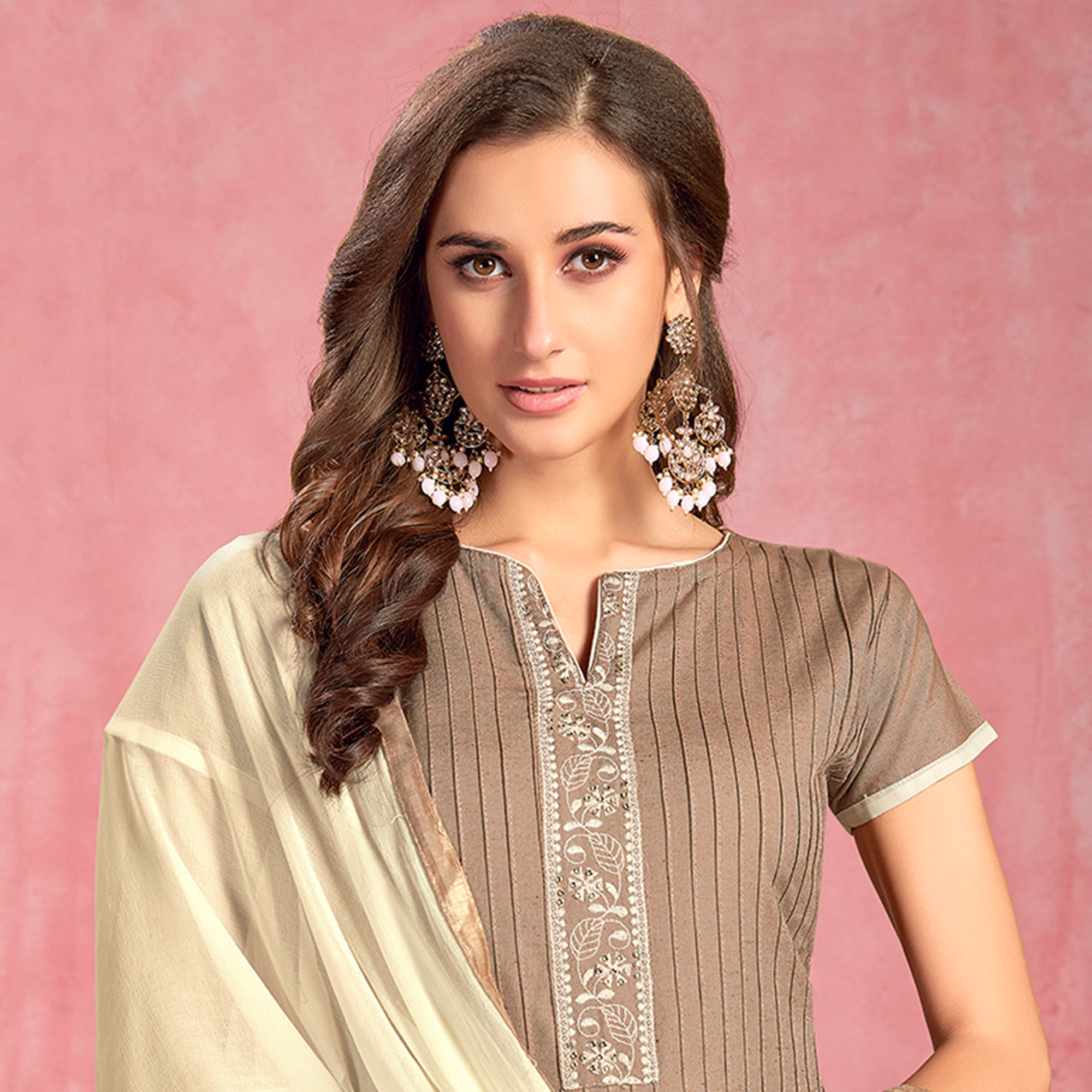 Imposing Dark Beige Colored Partywear Embroidered Pure Cotton Dress Material