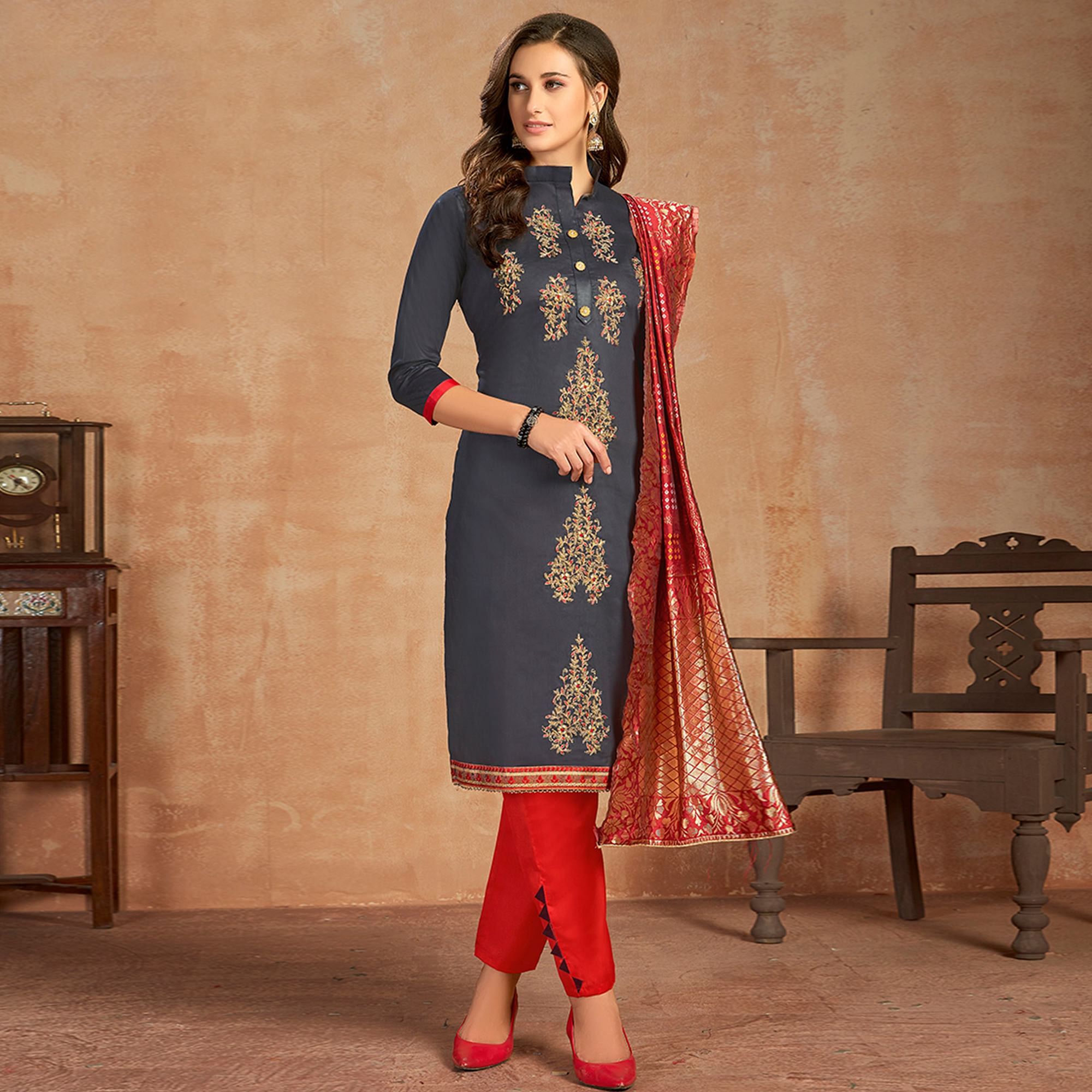 Lovely Blue Colored Partywear Embroidered Pure Cotton Dress Material