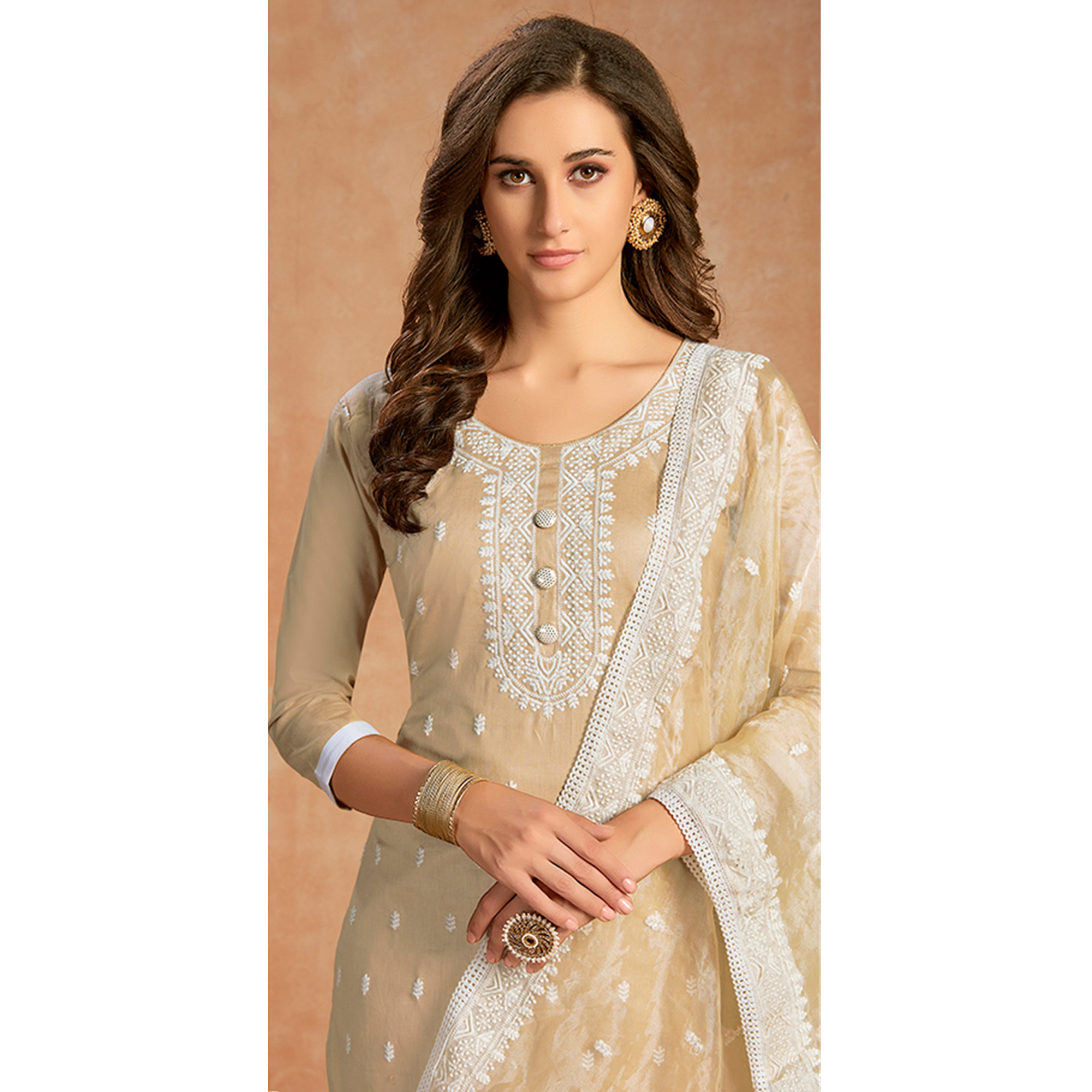 Majesty Beige Colored Partywear Embroidered Pure Cotton Dress Material