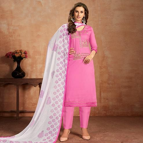 Impressive Pink Colored Partywear Embroidered Pure Cotton Dress Material