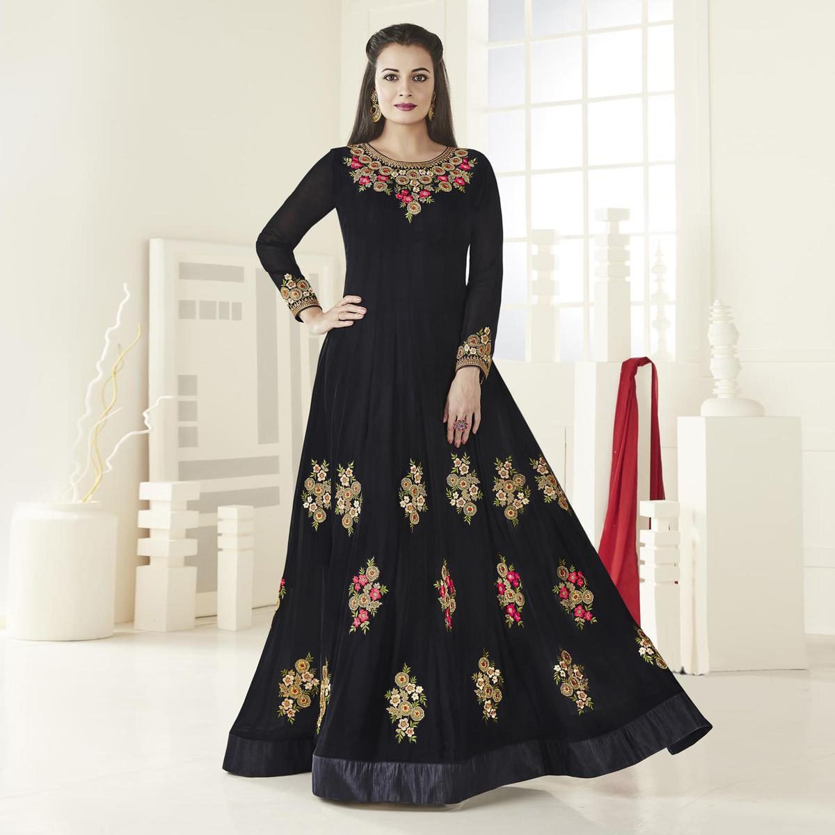 Sizzling Black Floor Length Designer Embroidered Georgette Anarkali Suit