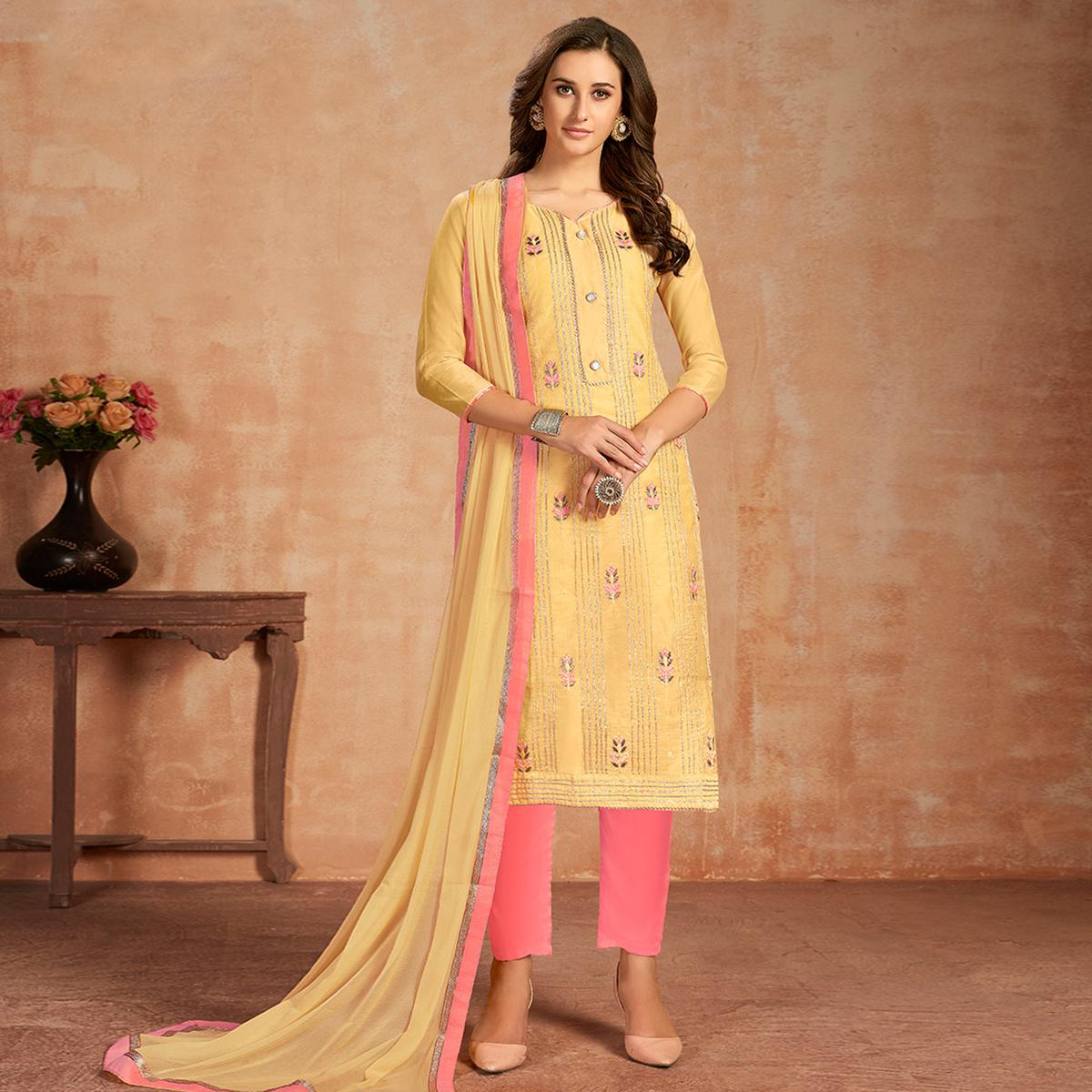 Mesmerising Yellow Colored Partywear Embroidered Pure Cotton Dress Material
